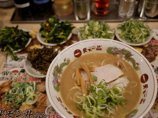 「中華そば こってり 並 麺硬め+ネギ+ネギ+ニラ+ニラ」@天下一品 名古屋栄店の写真