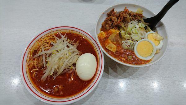 「半蒙古丼セット(北極) 880円 + ゆで卵(クーポン)」@蒙古タンメン 中本 上板橋本店の写真