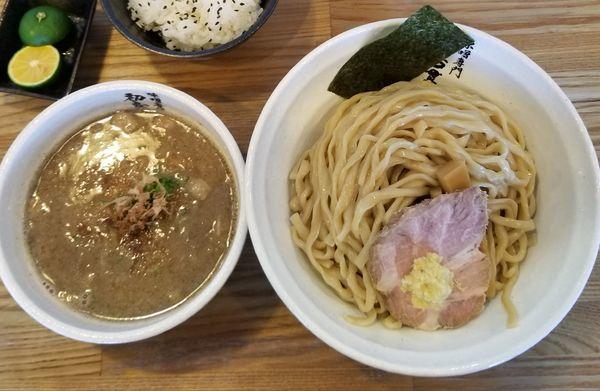 「味噌つけ麺大盛+すだちごはん」@初志貫徹の写真