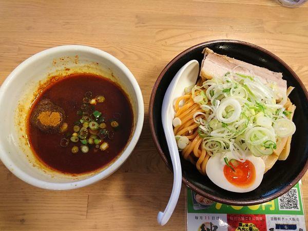 「炎帝つけ麺(中盛)+激辛チャレンジ」@景勝軒 西片貝店の写真