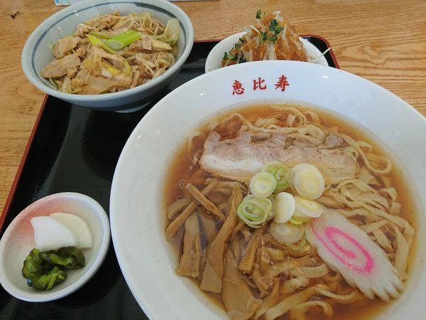 「ねぎチャーシュー丼セット(醤油・手打ち麺)」@恵比寿の写真