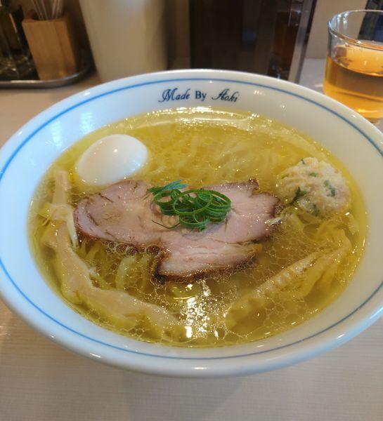 「塩らーめん 平打ち縮れ麺 味玉 和え玉」@中華蕎麦 あお木の写真