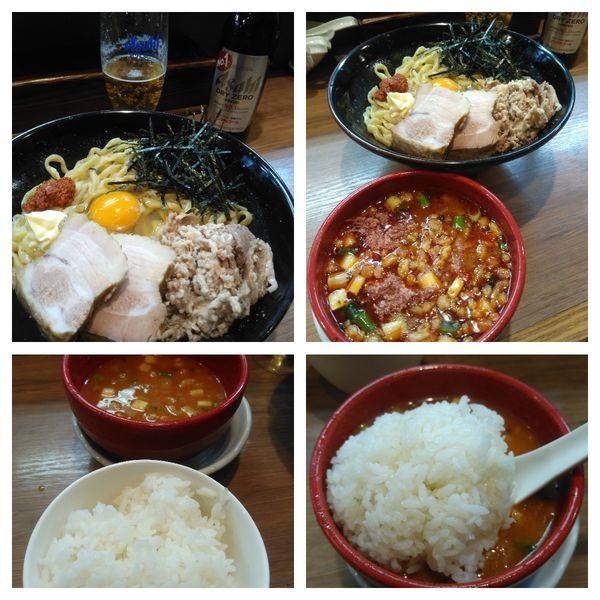 「【限定】ガーリックまぜSOBA&辛味噌つけ汁+ご飯」@麺家 Shumen Doushiの写真