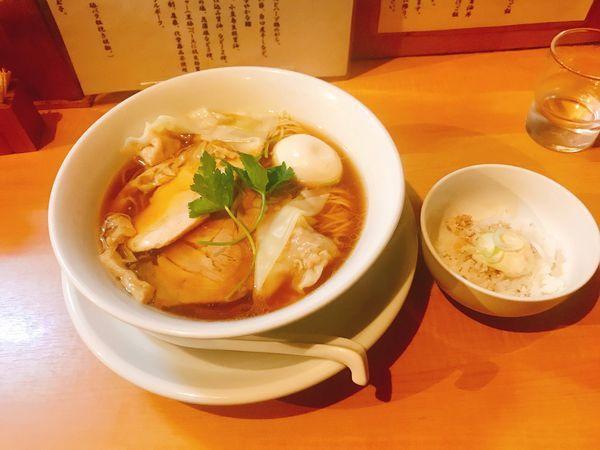 「特製鶏100醤油+鶏タルタル丼」@中華そば 大井町 和渦の写真