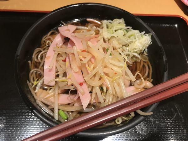 「新生姜とモヤシのナムル風そば【450円】」@よもだそば 日本橋店の写真