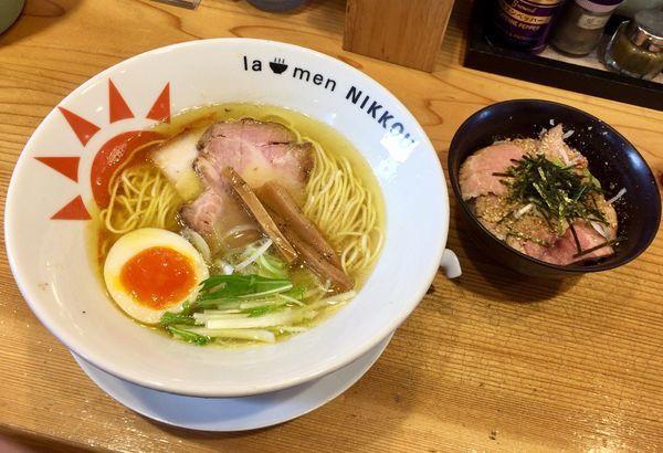 「日香麺.塩〜清香(さやか)〜 & 豚たたき飯(ご飯半分)」@ラーメン ニッコウの写真