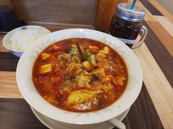 「豆腐マーラーメン&半ライス」@ラーメン餃子 なか屋の写真