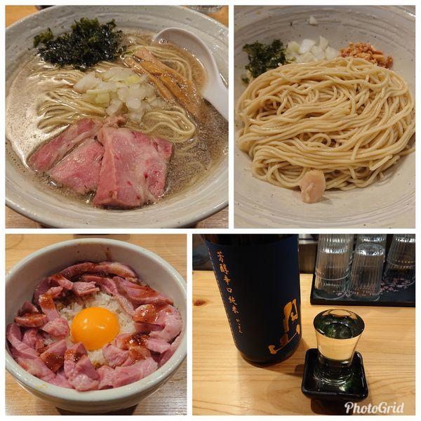 「煮干しらぁ麺&味つき替え玉 豚ユッケ風ご飯 今宵のお酒」@麺屋 さくら井の写真