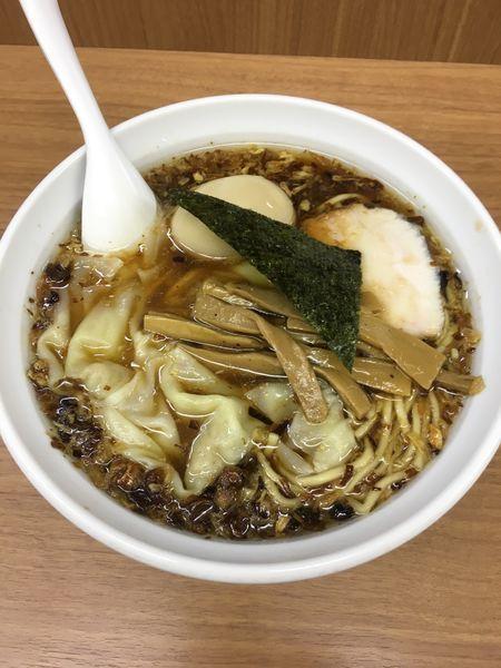 「揚げねぎそば+味玉+ワンタン」@中華そば・つけめん 甲斐 高円寺店の写真