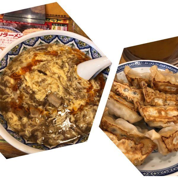「スーラータンメン+満福餃子」@中国ラーメン 揚州商人 目黒本店の写真
