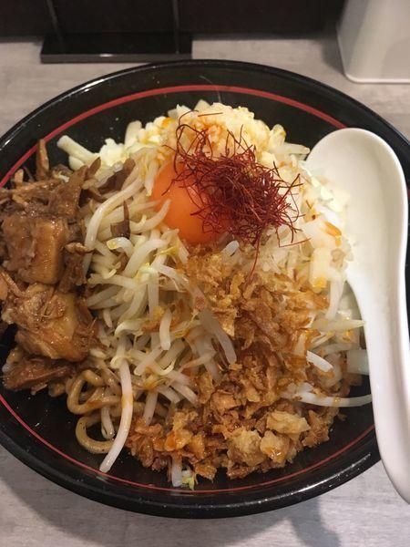 「太麺まぜそば」@らーめん酒場 福籠 通町店の写真