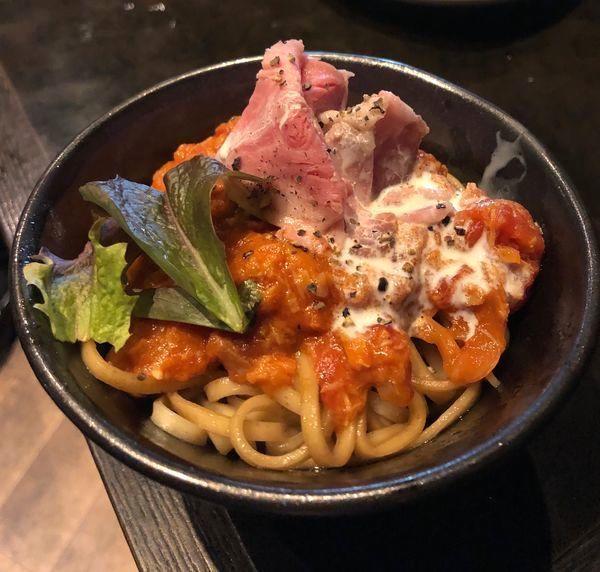「[オフ会メニュー] トマトソースの和えそば」@鶏そば なんきち 東京店の写真