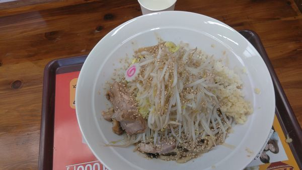 「まぜそば780円野菜マシ」@ラーメン 大高山 龍ヶ崎牛久店の写真