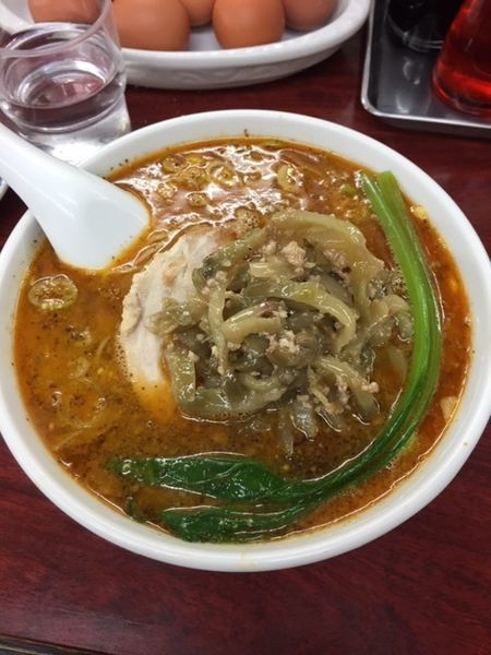 「四川タンタン麺(大辛) 850円 サービスライス・玉子付き」@我流担々麺 竹子 本郷店の写真