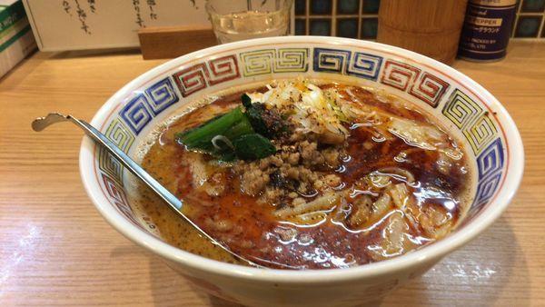 「担々麺3倍麺固め替玉」@ほっこり中華そば もつけの写真