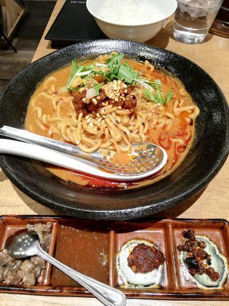 「麻辣汁なし担担麺」@SHIBIKARA 担担麺 飯塚の写真