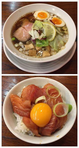 「澄醤油そば味玉付き+マグロ丼」@麺者屋ちくわの写真