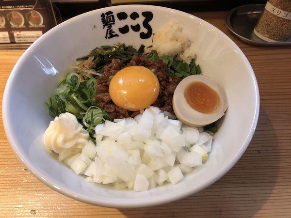 「台湾まぜそば+タマネギ+マヨネーズ」@麺屋こころ 梅ヶ丘店の写真