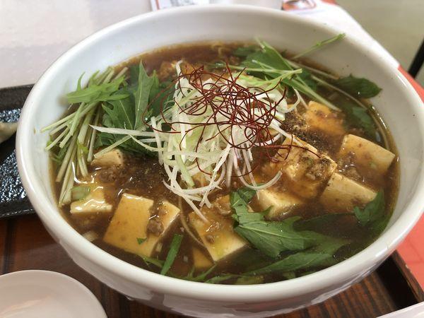 「麻婆麺(大盛)、餃子、ライス」@彩菜Dining 紅秋の写真