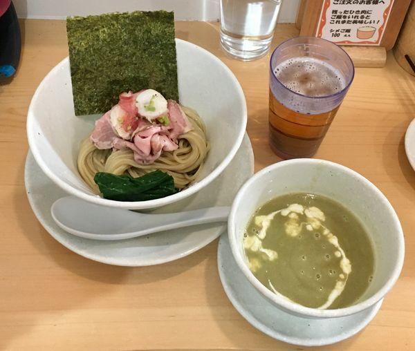 「空豆のつけそば【限定】」@麺屋BISQの写真