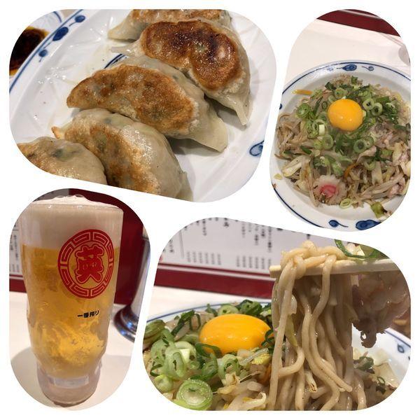 「焼きタンメン 950円+餃子+ビール」@らあめん英 本店の写真