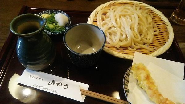 「ざる 700円+えび天 280円」@手打ちうどん あかうの写真