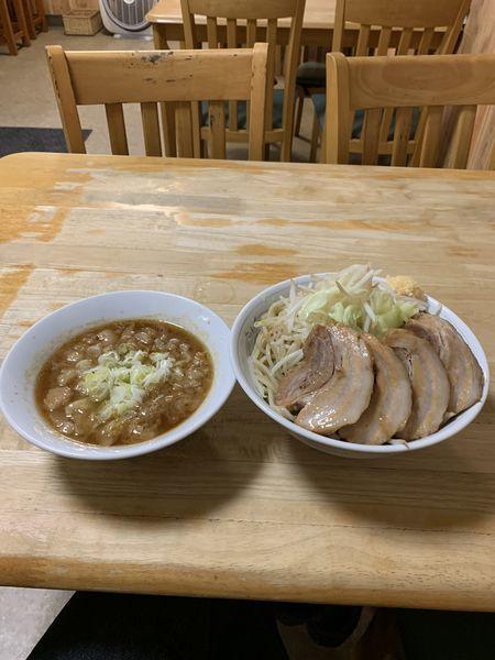 「つけ麺G 麺増し(600g) 豚増し アブラ、ニンニク」@中華そば つけ麺 村岡屋の写真