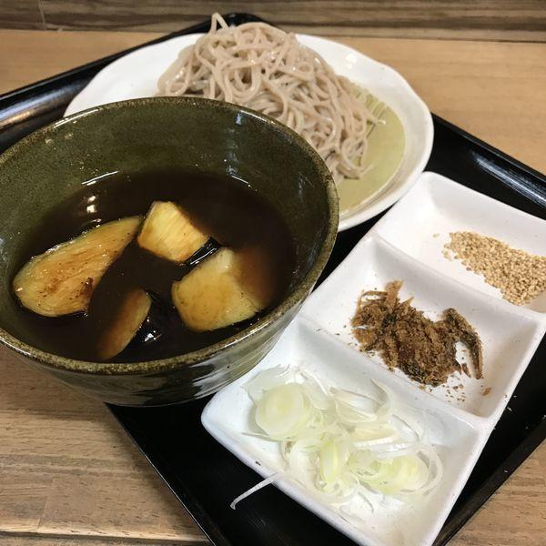 「揚げナスつけ蕎麦(¥500)」@梟小路の写真