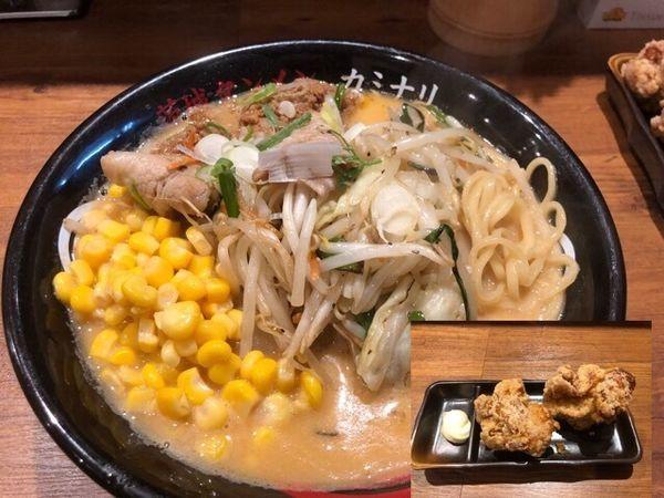 「味噌タンメン832円、唐揚げ(クーポン)」@茨城タンメン カミナリ 水戸城南店の写真