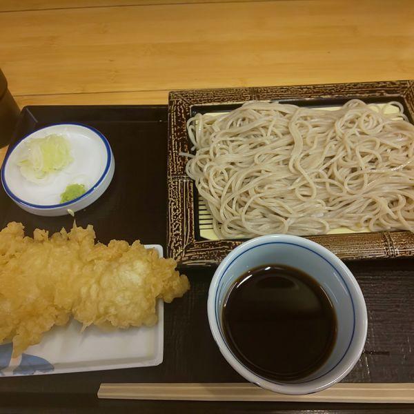「もりそば+鶏天」@いわもとQ 池袋店の写真