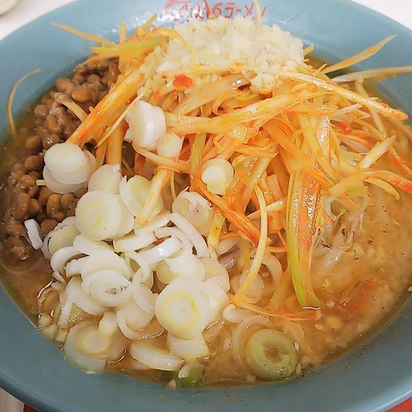 「ネギ味噌ラーメン納豆ニンニク多め」@くるまやラーメン 保谷新町店の写真