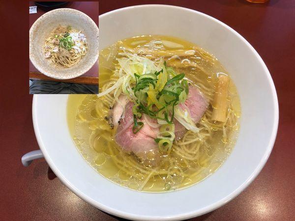 「中華そば 塩 730円+煮干和え麺 250円」@麺童 豊香の写真