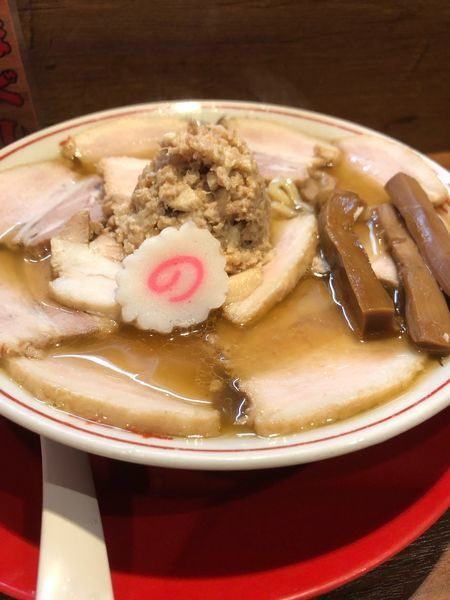 「肉煮干し中華そば780円肉ほぐし100円」@肉煮干し中華そば さいころの写真