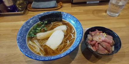 「中華そば+ローストビーフ丼」@中華そば 瓢の写真