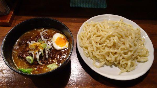「牛すじカレーつけそば(930円)麺多め」@麺 池谷精肉店の写真