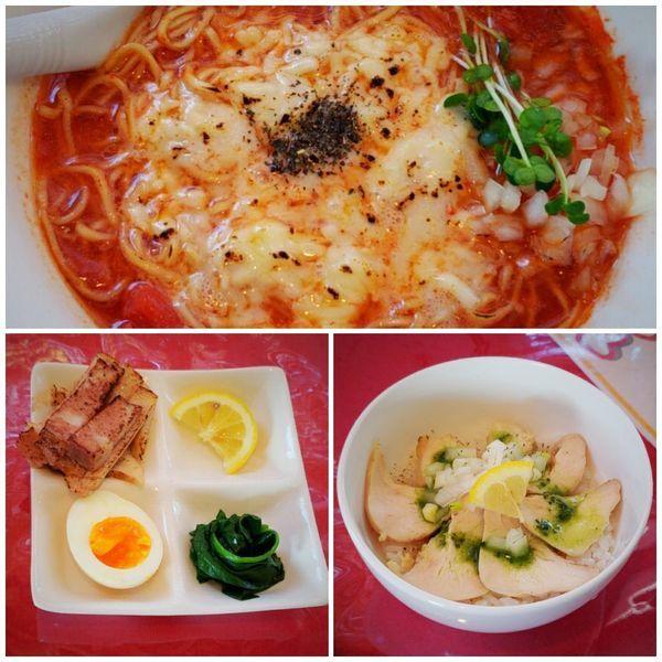 「【期間限定】トマトチーズラーメン+ミニ鶏バジル丼」@居食屋かぶきの写真