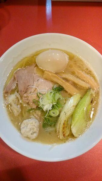 「味玉鴨ネギラーメン 白湯   850円」@麺屋しのはら 三日月食堂の写真