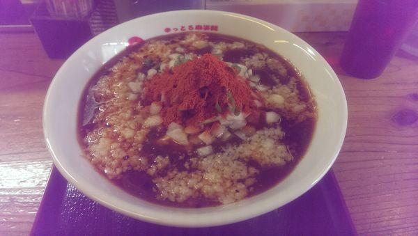 「背脂咖喱麻婆麺、大盛,辛さレベル4」@辛っとろ麻婆麺 あかずきんの写真