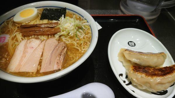 「中華そば・大+餃子2個」@松戸富田麺絆の写真