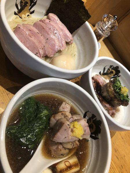 「特製鴨中華つけそば+満鶏丼」@満鶏軒の写真