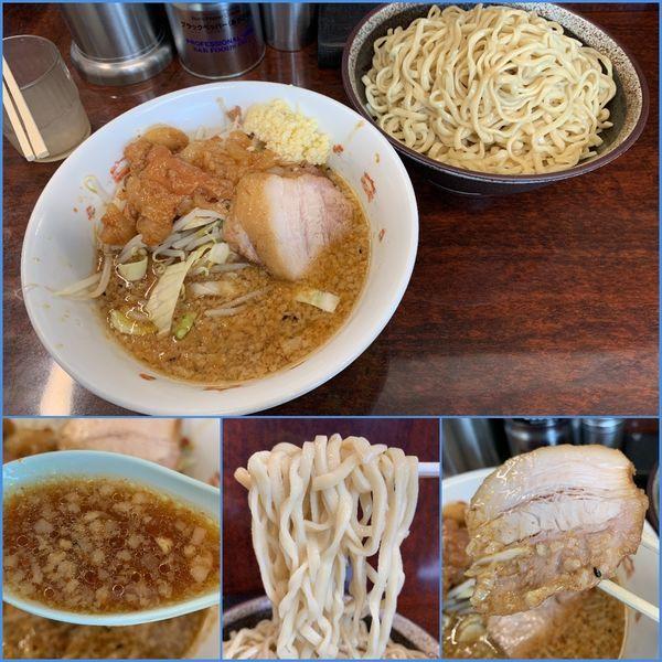 「小ラーメン¥750+つけ麺¥150(ニンニク増し・アブラ)」@ラーメン二郎 めじろ台店の写真