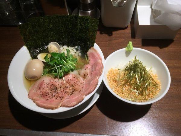「赤鶏と蛤の淡麗中華そば (塩)+アラレご飯」@麺屋 ねむ瑠の写真