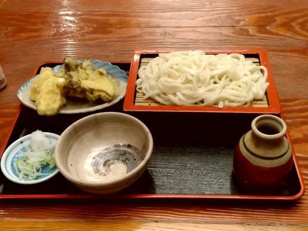 「4月のおすすめ「たけのこと舞茸の天ぷら付きもりうどん900円」@そば処 きのえねの写真