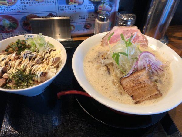 「鷄とろみそば+チャーマヨ丼」@麺屋 甚八の写真