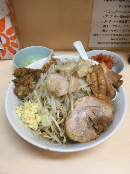 「油そば+キムチ(780円+100円)」@自家製ラーメン 大者の写真