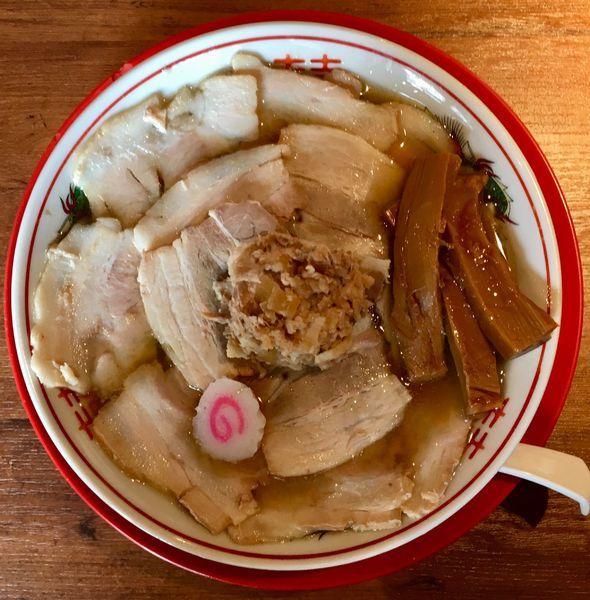 「肉煮干中華そば「29(肉)の日サービス500円+ほぐし肉」@肉煮干し中華そば さいころの写真