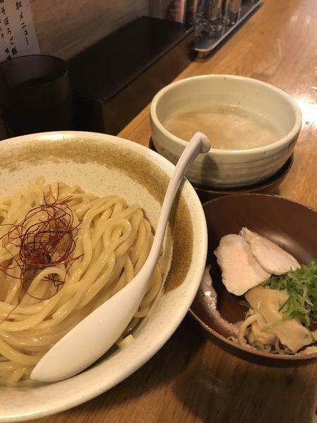 「鶏白湯つけ麺  鶏そぼろご飯(梅しそ)」@麺匠ようすけ 鶏煮亭の写真