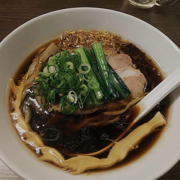「【限定】川越醤油ブラック+生姜」@花笑み中華そば かれんの写真