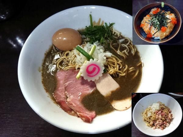「濃密な煮干しそば+鮮魚の漬け丼+和え玉」@中華そば いづるの写真