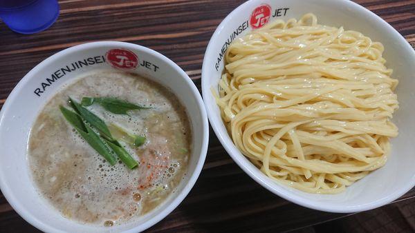 「塩鶏白湯つけ麺大盛 1000円」@ラーメン人生 JET 福島本店の写真